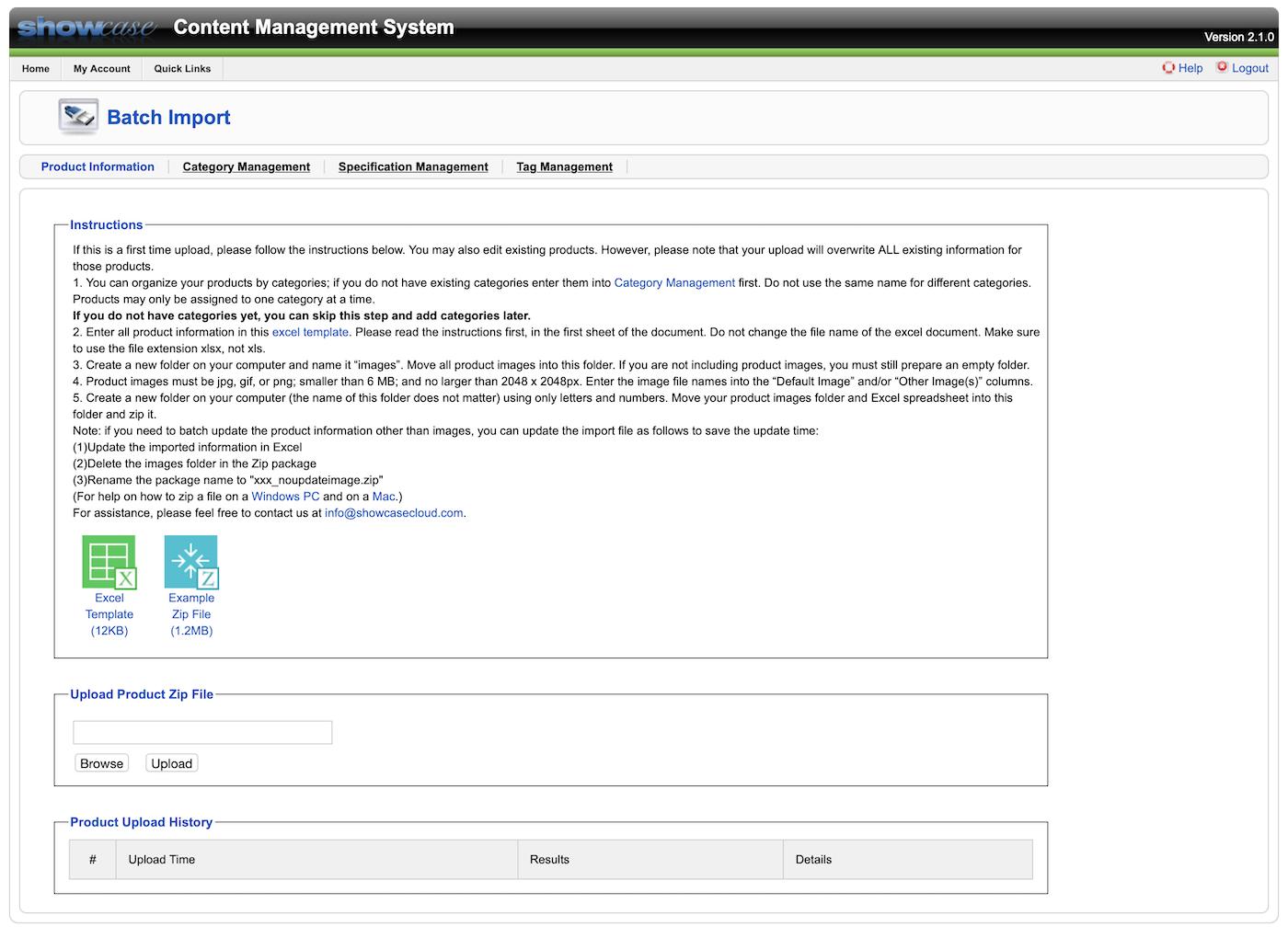 Showcase CMS batch import